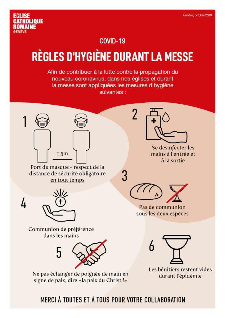 règles d'hygiène durant la messe octobre 2020